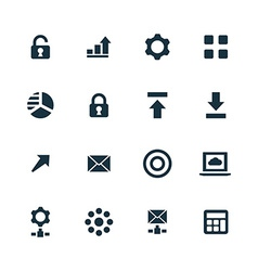 Big data database icons set vector