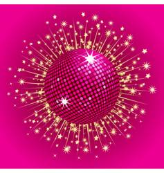 Pink disco ball and stars vector