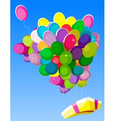 Flying colorful balloons with gift vector