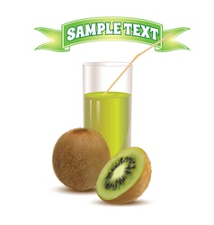 Photo realistic glass of juice kiwi and slice kiwi vector