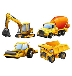 Tractors and bulldozers in yellow vector
