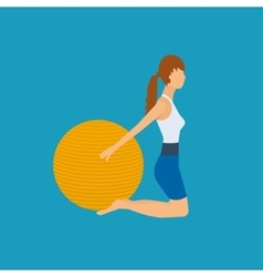 Cartoon of a woman exercising with vector