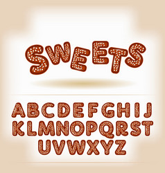 Comic cartoon chocolate nuts candy style alphabet vector