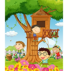Boys playing in the garden vector