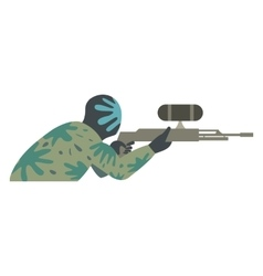 Paintball player flat icon vector