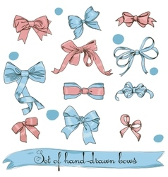 Set of vintage pink and blue bows vector