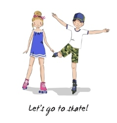 Roller skater skating girl boy cartoon couple vector