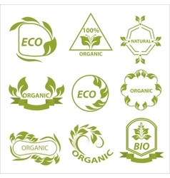 Organic products eco labels logo vector