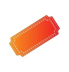 Ticket sign  orange applique isolated vector