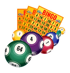 bingo lottery tickets and balls icons realistic vector image vector image