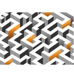 Black white and orange maze labyrinth endless vector