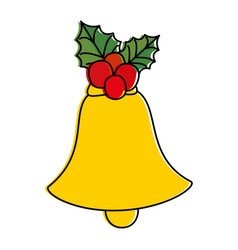 Christmas bell with flower vector