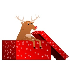 Christmas reindeer in the box vector image vector image