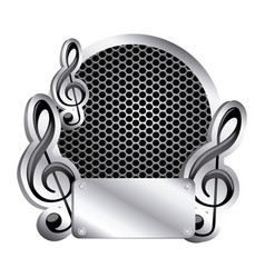 Circular metallic frame with grill perforated and vector