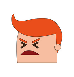 Color image side view face cartoon man with angry vector