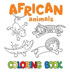 Coloring book with african animals vector