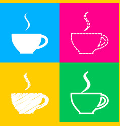 cup of coffee sign four styles of icon on four vector image vector image