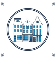 Dutch blue tile with typical houses vector image