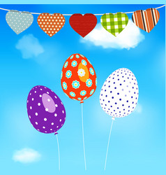easter eggs balloons flying over blue sky vector image