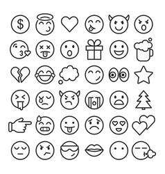 emoji faces simple icons thin line symbols vector image