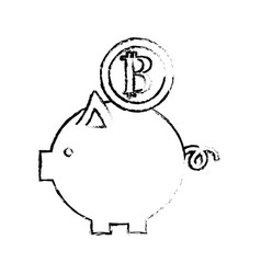 Figure nice pig to save coin currency broken vector