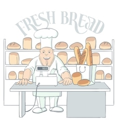Hand drawn baker character in shop vector