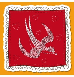 Handkerchief with swallow embroidery vector
