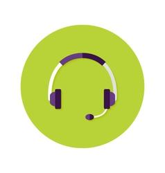 Headset callback flat circle icon vector