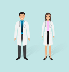 Hospital staff concept couple of male and female vector