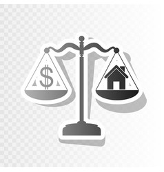 House and dollar symbol on scales new vector