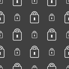 Lock icon sign Seamless pattern on a gray vector image