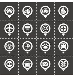 Map pointer icon set vector image vector image