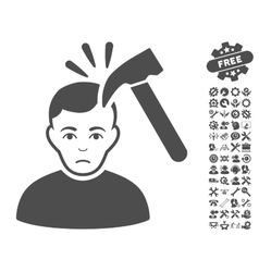 Murder with hammer icon with tools bonus vector