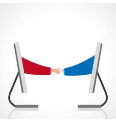 Online deal between businessmen vector