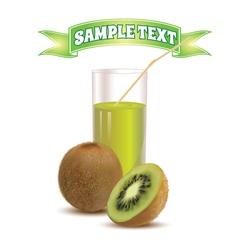 Photo realistic glass of juice kiwi and slice kiwi vector image vector image
