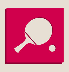 Ping pong paddle with ball grayscale vector