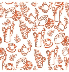 Red Seamless Pattern with Tea Cups vector image vector image