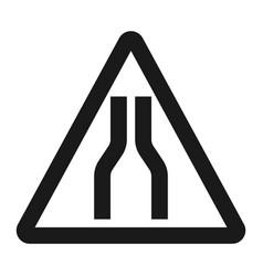 road narrows ahead sign line icon vector image vector image