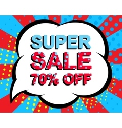 Sale poster with super sale 70 percent off text vector