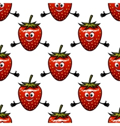 Seamless pattern with cartoon strawberry vector