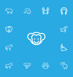 Set of 13 editable animal outline icons includes vector