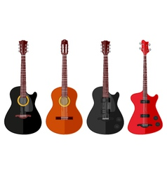 Set of isolated guitars vector image vector image