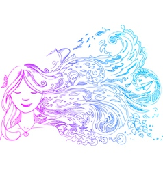 Woman with long hair vector image