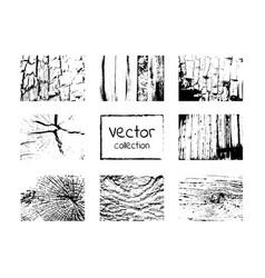 Wood grungy black texture set vector