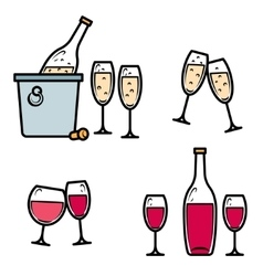 Drinking wine and champagne icon set vector