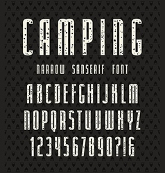 Narrow sanserif font with speckled texture vector