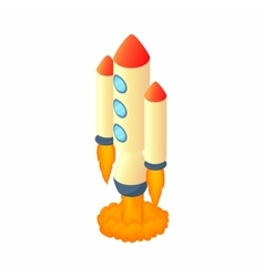 Multi stage rocket icon cartoon style vector