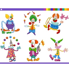 circus clowns collection vector image