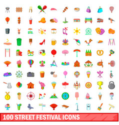 100 street festival icons set cartoon style vector