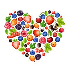 Cartoon fresh healthy forest berries concept vector